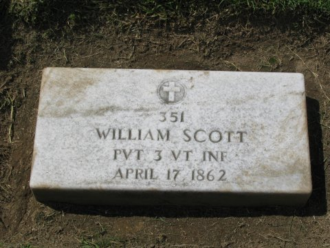William Scott, The Sleeping Sentinel, tombstone at Yorktown National Cemetery
